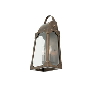 Arlington Aged Bronze 2-Light 9-Inch Outdoor Wall Sconce