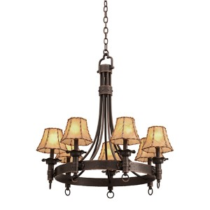 Americana Antique Copper Seven-Light Chandelier