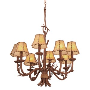 Ponderosa Eight-Light Chandelier with Leather-wrapped