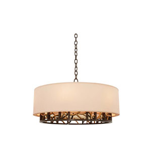 Hudson Bronze Gold Six Light Pendant