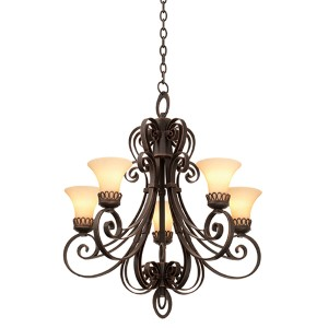 Mirabelle Antique Copper Five-Light Chandelier