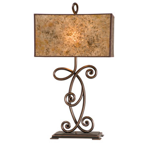 Windsor Antique Copper Two-Light Table Lamp with Stained Mica Shade
