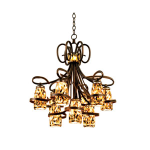 Monaco Antique Copper Nine-Light Chandelier with Black Iridescent Shell Shades