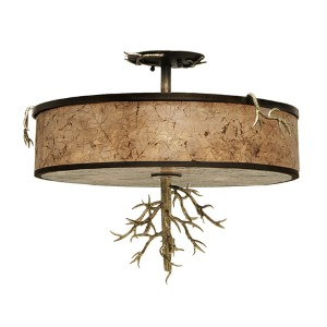 Oakham Bronze Gold Three-Light Semi-Flush