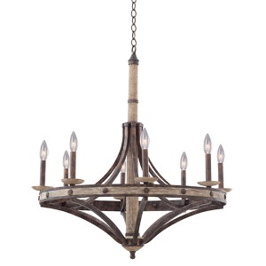 Coronado Florence Gold 32-Inch Wide Eight-Light Chandelier