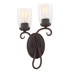 Castaic Antique Copper Two-Light Right Wall Bracket with Clear Seeded Glass