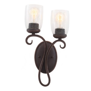 Castaic Antique Copper Two-Light Left Wall Bracket with Clear Seeded Glass