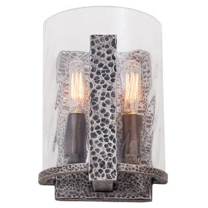 Odessa Hammered Silver Two-Light Wall Sconce