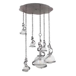 Odessa Hammered Silver Six-Light Pendant