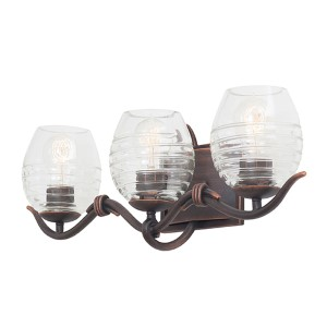 Seabrook Antique Copper Three-Light Bath Fixture
