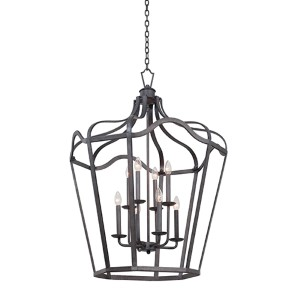 Livingston Charcoal Six-Light Large Lantern with Soft Cream Shade