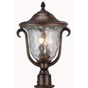 Santa Barbara Burnished Bronze Medium Outdoor Post Mount Lantern