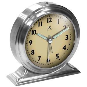 Brushed Nickel Metal Alarm Clock-Cream Face