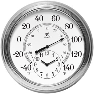 Galvanized Wall Thermometer with Clock