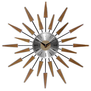 Walnut 23-Inch Satellite Wall Clock