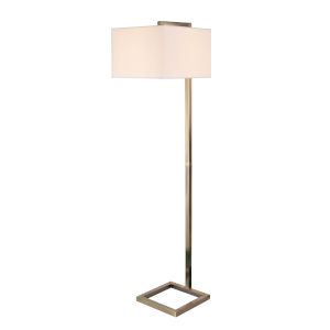 4 Square Antique Brass One-Light Shaded Floor Lamp