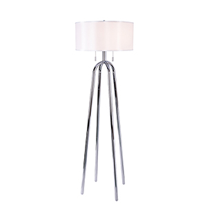 Quadratic Chrome Two-Light Floor Lamp