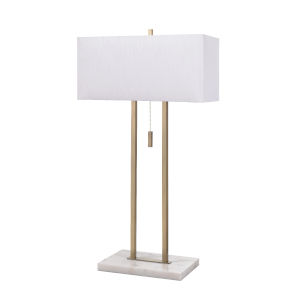 Emilio Antique Brass and Marble Two-Light Accent Table Lamp