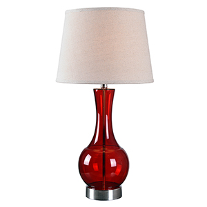 Decanter Red Glass One-Light Table Lamp