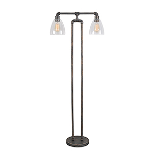 Steam Fitter Vintage Metal Two-Light Floor Lamp