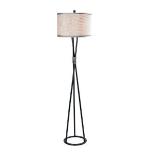 Mariah Black and Silver One-Light Shaded Floor Lamp