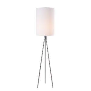 Brock Brushed Steel One-Light Shaded Floor Lamp