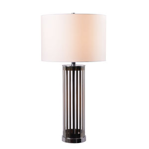 Pinstripe Dark Chrome Striped Glass One-Light Accent Table Lamp