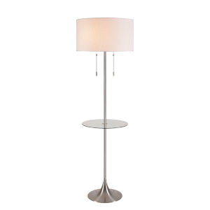 Stowe Brushed Steel Two-Light Shaded Floor Lamp