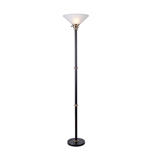 Jenkins Oil Rubbed Bronze and Antique Brass One-Light Torchiere