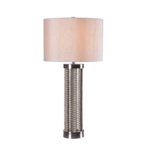 Dumas Distressed White Wooden Bead One-Light Accent Table Lamp