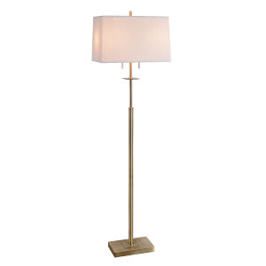 Amina Antique Brass Two-Light Shaded Floor Lamp