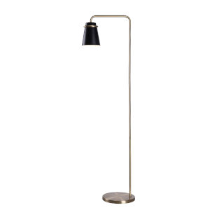 Levi Black and Antique Brass One-Light Shaded Floor Lamp