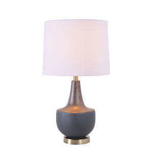 Juno Concrete and Wood Ceramic One-Light Shaded Table Lamp