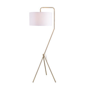 Kaler Antique Brass One-Light Shaded Floor Lamp
