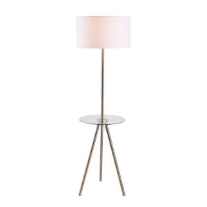 Nash Antique Brass and Clear Glass One-Light Shaded Floor Lamp