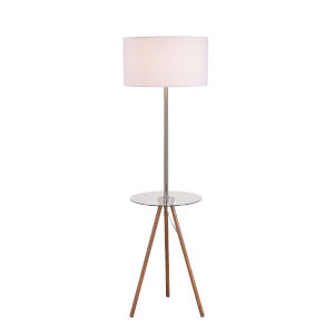 Nash Wood Grain and Antique Brass One-Light Shaded Floor Lamp