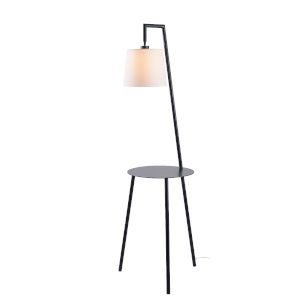 Obsidian Black and White One-Light Shaded Floor Lamp