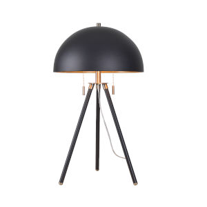 Trey Black, Antique Brass and Gold Shade Interior Two-Light Shaded Table Lamp