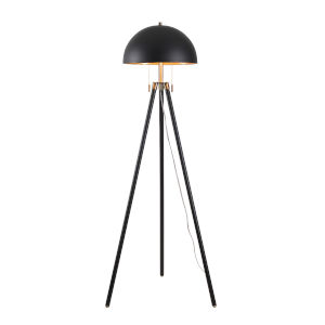 Trey Black, Antique Brass and Gold Shade Interior Two-Light Shaded Floor Lamp