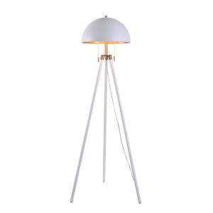 Trey White, Antique Brass and Gold Shade Interior Two-Light Shaded Floor Lamp