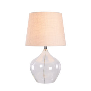 Priscilla Clear Glass and Chrome 10-Inch One-Light Shaded Table Lamp