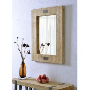 Farfalle Natural Wood and Metal Wall Mirror