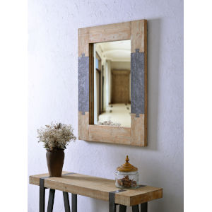 Joinery Natural Wood and Iron Wall Mirror
