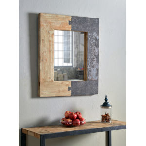 Enigma Natural Wood and Iron Wall Mirror