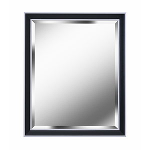 Beau Black with Polished Silver 32-Inch Wall Mirror