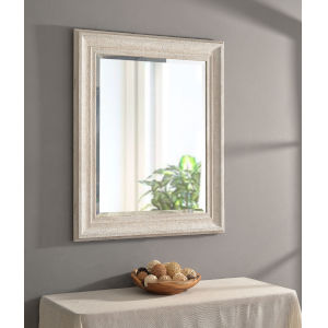 Warren Distressed White Wood 29-Inch Wall Mirror