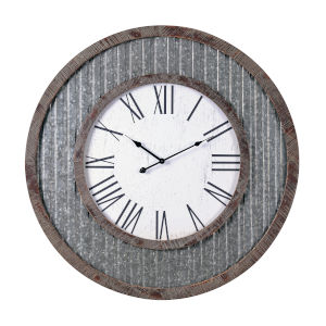 Wes Galvanized and Distressed Wood Wall Mounted Clock