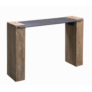 Carpenter Natural Wood and Iron Console Table