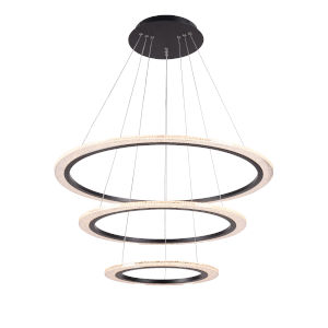 Zoe Black Three-Light LED Chandelier