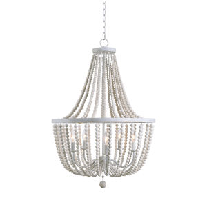 Dumas White and Distressed White Bead Five-Light Chandelier